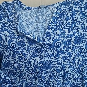 Blue and white print blouse